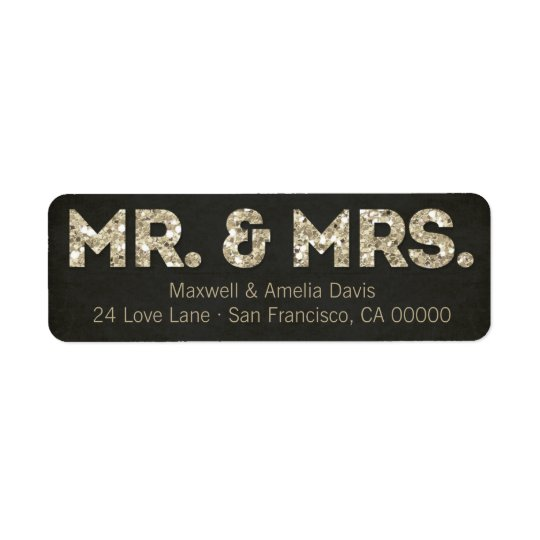 Black & Gold Glitter Look Mr. & Mrs. Labels