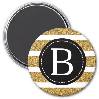 Black & Gold Glitter Monogram 3 Inch Round Magnet