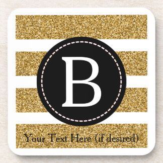 Black & Gold Glitter Monogram Drink Coaster