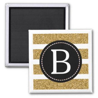 Black & Gold Glitter Monogram Square Magnet