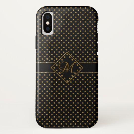 BLACK GOLD GLITTER POLKA DOTS PATTERN MONOGRAMMED iPhone X CASE