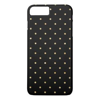 Black Gold Glitter Small Polka Dots Pattern iPhone 7 Plus Case