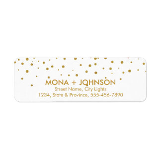 Black Gold Glitter Sparkle Confetti Dots Modern Return Address Label
