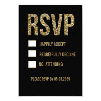 Black & Gold Glitter Typography Wedding RSVP Cards