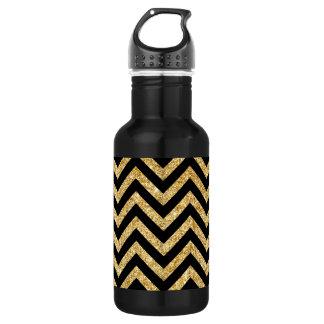Black Gold Glitter Zigzag Stripes Chevron Pattern 532 Ml Water Bottle