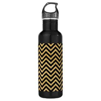 Black Gold Glitter Zigzag Stripes Chevron Pattern 710 Ml Water Bottle