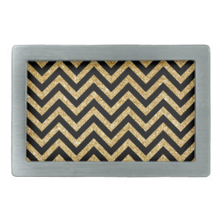 Black Gold Glitter Zigzag Stripes Chevron Pattern Belt Buckles