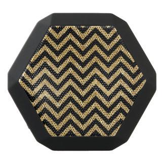 Black Gold Glitter Zigzag Stripes Chevron Pattern Black Bluetooth Speaker