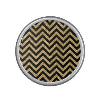 Black Gold Glitter Zigzag Stripes Chevron Pattern Bluetooth Speaker