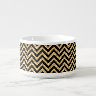 Black Gold Glitter Zigzag Stripes Chevron Pattern Bowl