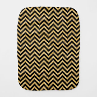 Black Gold Glitter Zigzag Stripes Chevron Pattern Burp Cloth