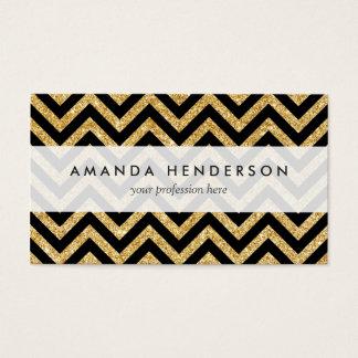 Black Gold Glitter Zigzag Stripes Chevron Pattern Business Card