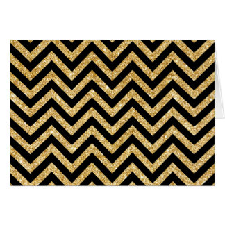 Black Gold Glitter Zigzag Stripes Chevron Pattern Card