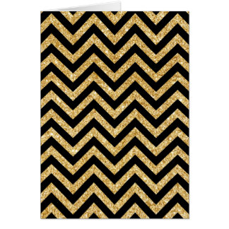 Black Gold Glitter Zigzag Stripes Chevron Pattern Card
