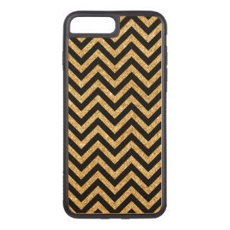 Black Gold Glitter Zigzag Stripes Chevron Pattern Carved iPhone 8 Plus/7 Plus Case