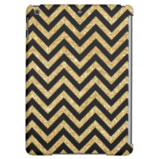 Black Gold Glitter Zigzag Stripes Chevron Pattern Case For iPad Air
