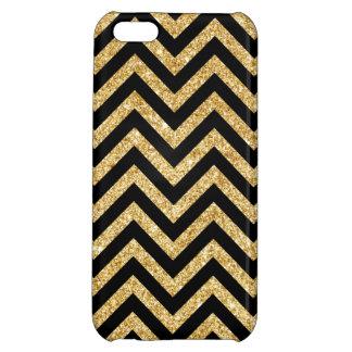 Black Gold Glitter Zigzag Stripes Chevron Pattern Case For iPhone 5C