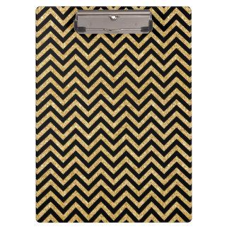 Black Gold Glitter Zigzag Stripes Chevron Pattern Clipboard