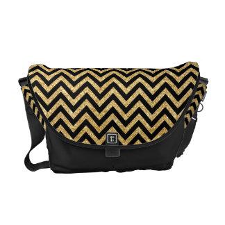 Black Gold Glitter Zigzag Stripes Chevron Pattern Commuter Bags