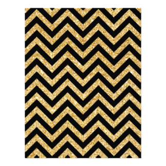 Black Gold Glitter Zigzag Stripes Chevron Pattern Custom Letterhead