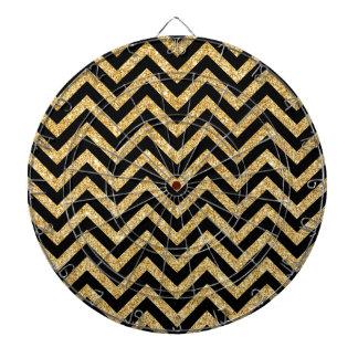 Black Gold Glitter Zigzag Stripes Chevron Pattern Dartboards