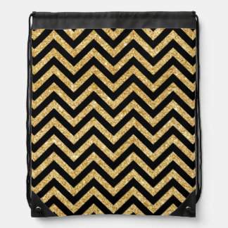 Black Gold Glitter Zigzag Stripes Chevron Pattern Drawstring Bag