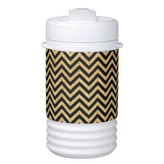 Black Gold Glitter Zigzag Stripes Chevron Pattern Drinks Cooler