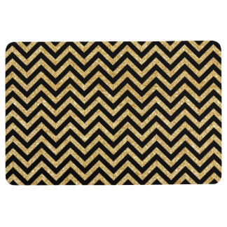 Black Gold Glitter Zigzag Stripes Chevron Pattern Floor Mat