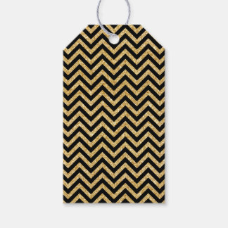 Black Gold Glitter Zigzag Stripes Chevron Pattern Gift Tags