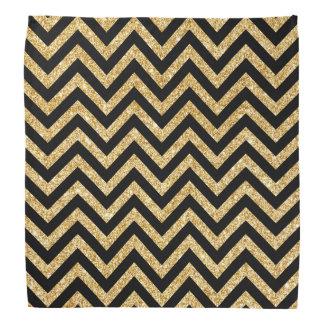 Black Gold Glitter Zigzag Stripes Chevron Pattern Head Kerchief