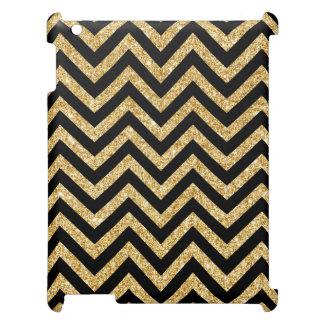 Black Gold Glitter Zigzag Stripes Chevron Pattern iPad Cases