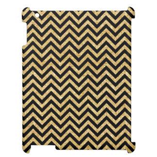 Black Gold Glitter Zigzag Stripes Chevron Pattern iPad Covers