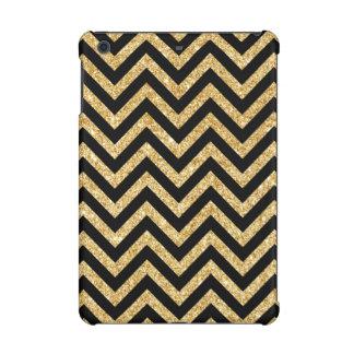 Black Gold Glitter Zigzag Stripes Chevron Pattern iPad Mini Cases