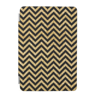 Black Gold Glitter Zigzag Stripes Chevron Pattern iPad Mini Cover