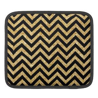 Black Gold Glitter Zigzag Stripes Chevron Pattern iPad Sleeve