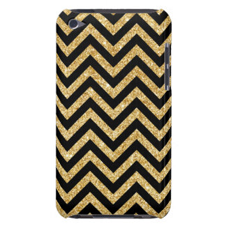 Black Gold Glitter Zigzag Stripes Chevron Pattern iPod Touch Case
