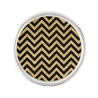 Black Gold Glitter Zigzag Stripes Chevron Pattern Lapel Pin