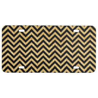 Black Gold Glitter Zigzag Stripes Chevron Pattern License Plate