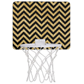 Black Gold Glitter Zigzag Stripes Chevron Pattern Mini Basketball Hoop