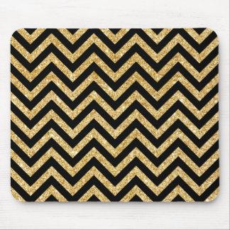 Black Gold Glitter Zigzag Stripes Chevron Pattern Mouse Pad