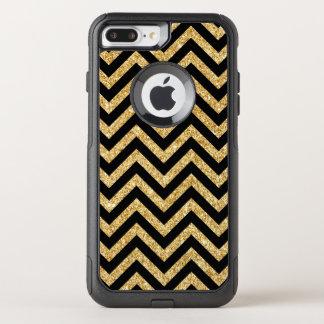 Black Gold Glitter Zigzag Stripes Chevron Pattern OtterBox Commuter iPhone 8 Plus/7 Plus Case