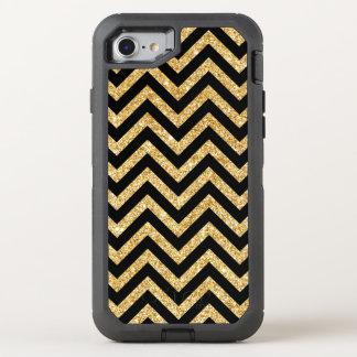 Black Gold Glitter Zigzag Stripes Chevron Pattern OtterBox Defender iPhone 8/7 Case