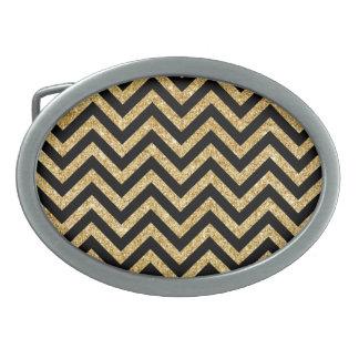 Black Gold Glitter Zigzag Stripes Chevron Pattern Oval Belt Buckle