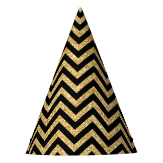 Black Gold Glitter Zigzag Stripes Chevron Pattern Party Hat