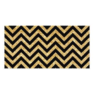 Black Gold Glitter Zigzag Stripes Chevron Pattern Picture Card