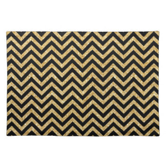 Black Gold Glitter Zigzag Stripes Chevron Pattern Placemat