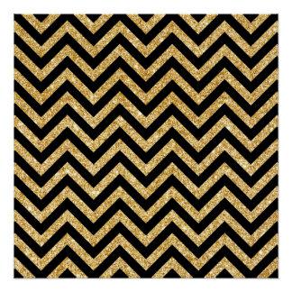 Black Gold Glitter Zigzag Stripes Chevron Pattern Poster