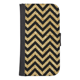Black Gold Glitter Zigzag Stripes Chevron Pattern Samsung S4 Wallet Case