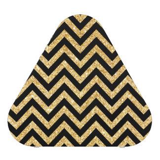Black Gold Glitter Zigzag Stripes Chevron Pattern Speaker