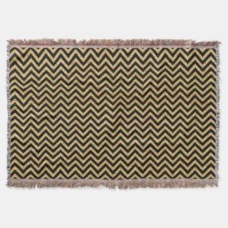 Black Gold Glitter Zigzag Stripes Chevron Pattern Throw Blanket